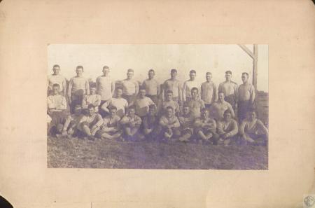 Image: di16711 - 309th Engineers regimental football team photo taken at Camp Montois, France: (front row) Chester Battleday,....