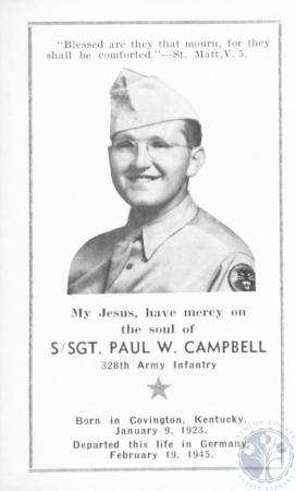 Image: di18246 - S/Sgt. Paul W. Campbell 328th Army Infantry. Died in Germany February 19, 1945.