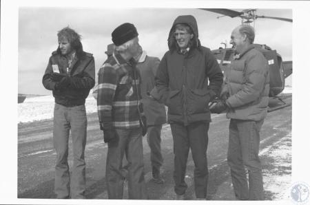 Image: di18318 - Gov. Caroll, U.S. Rep. Morris Udall, U.S. Interior Secy. Cecil Andrus and aides at Ky southeastern strip....