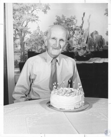 Image: di18589 - Fred A. Erscell celebrating his 90th birthday