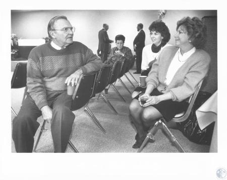 Image: di18731 - Boone County Judge Executive Bruce Ferguson talks with Boone County commissioner Irene Patrick, Circuit....