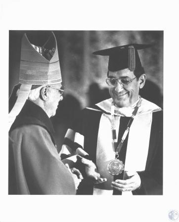 Image: di19188 - Bishop William Hughes at inauguration of Dr. Bensman
