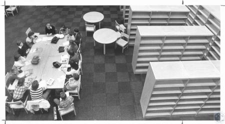 Image: di20963 - Drivers Education Class meets in the school library whose shelves are still empty