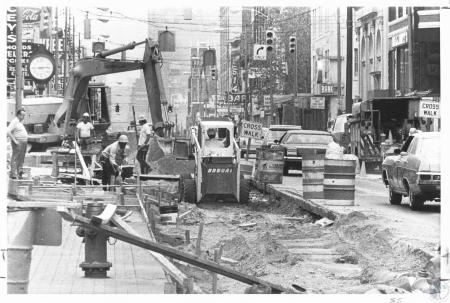 Image: di21856 - Madison Ave., looking north, showing construction and cars on Madison Ave.