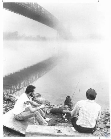 Image: di23234 - Gordon Young (29) and Charles Young (37), fishing at Suspension Bridge