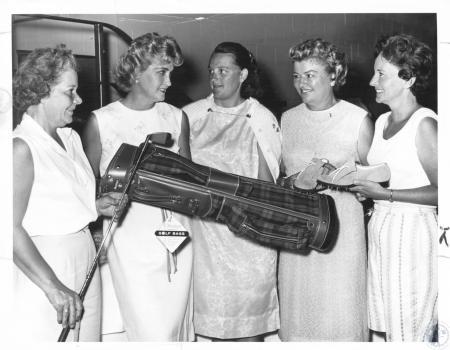 Image: di23577 - Mrs. Ed Young, Mrs. Ed Bastin, Mrs. Harry McClurg, Mrs. Del Vaughn, Mrs. Reuben Hodder at Summit Hill....