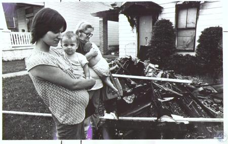 Image: di24190 - Family burned out of home at 121 E 40th Street - Charlene Dietz, Ray Dietz Jr., Mary Perkins and Carla....