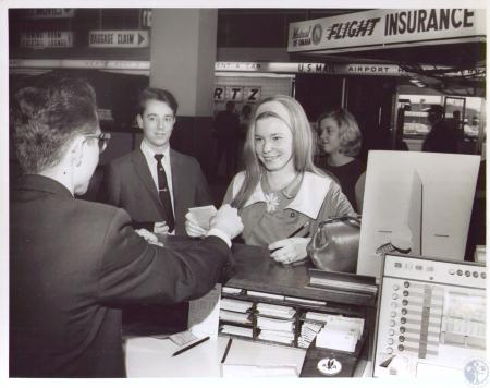 Image: di24391 - Florence Ernst gets airline ticket at Greater Cincinnati Airport