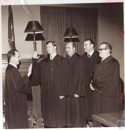 Image: di24446 - Judge James Dressman Jr gives oath to Circuit Judges Lawrence D. Wichmann, Robert O. Lukowsky, Melvin....