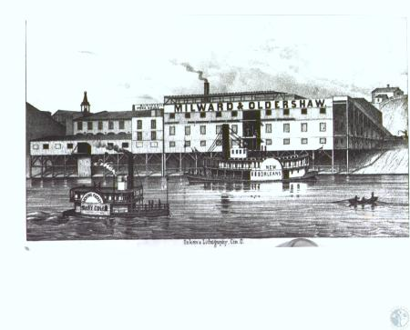 Image: di27961 - Milward and Oldershaw slaughterhouse and pork packing house. Steamboats New Oreleans and Licking Packet,....