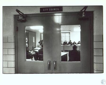 Image: di30874 - Big cop meeting at Florence Cop Shop - closed to public. That�s Florence Chief Callen on left.