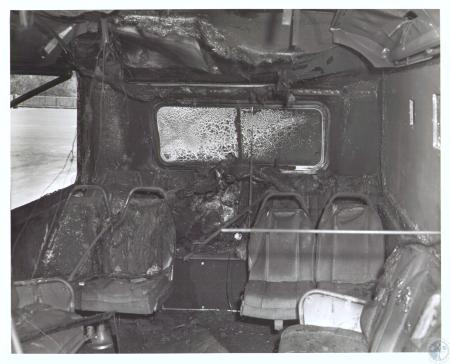 Image: di32363 - Charred slats inside metrobus show officials of the full scale burn test of vehicle performed by  National....