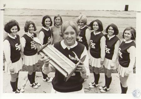 Image: di34295 - Simon Kenton Cheerleaders vying for state cheerleading title are: Debbie Barnett, Barbara Harms, Bev....