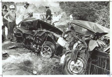 Image: di34449 - Archie W. Taylor (20), Michael and Brenda Swain (both 31). Taylor's car (on left) hit the Swain car (on....