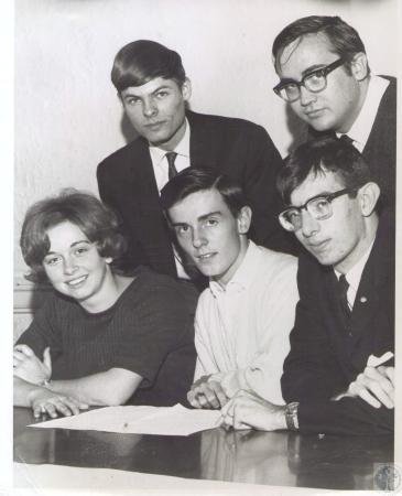 Image: di34798 - (Front) Barbara Weidner, Paul Leffler, Bert Shelton, (rear) Charles Dahlenburg, Louis DeFalaise