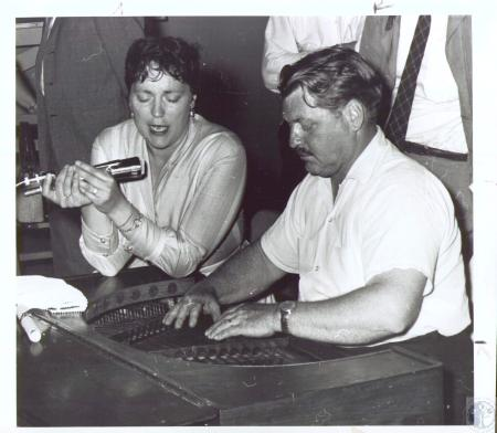 Image: di37105 - Evelyne and Bob Beers, folk singing couple from Petersburg, NY. National Folk Festival - Latonia Race....