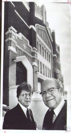 Image: di37607 - Rev. Ernest Carpenter and Rev. Ennis Taylor, retired, in front of Madison Avenue Baptist Church