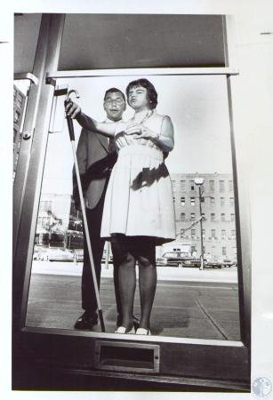 Image: di37886 - Miss Diana Johns, blind student and Dave Koper, her instructor