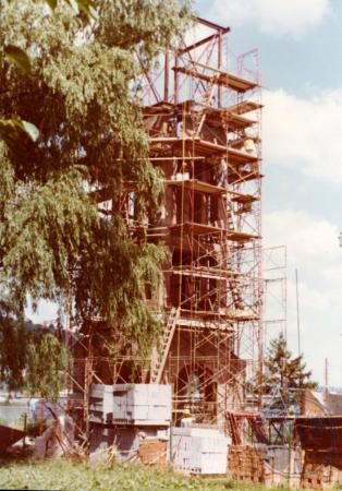 Image: di39306 - Construction of Carroll Chimes Bell Tower, Goebel Park