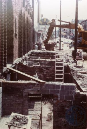 Image: di39318 - CURE construction, excavated sidewalk on east side of Madison between Pike and 7th looking south