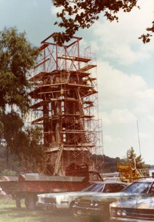 Image: di39329 - Construction of the Carroll chimes bell tower, Goebel Park