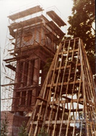 Image: di39333 - Construction of the Carroll chimes bell tower, Goebel Park