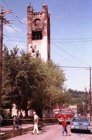 Image: di39586 - Fire ravaged remains of St. Aloysius church