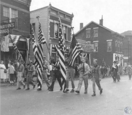 Image: di40377 - Boy Scout honor guard in Centennial Parade