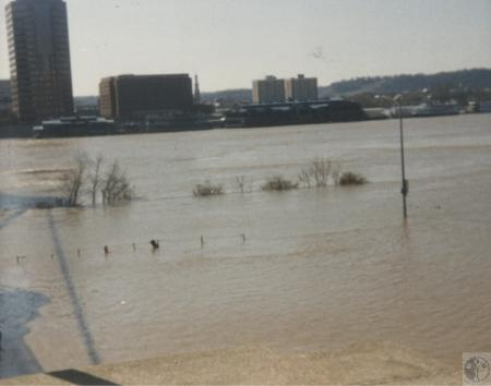 Image: di41809 - view of Covington from Cincinnati's riverfront, showing flood waters