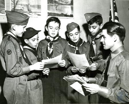 Image: di48387 - St. Peter's boy scout troop, unidentified children