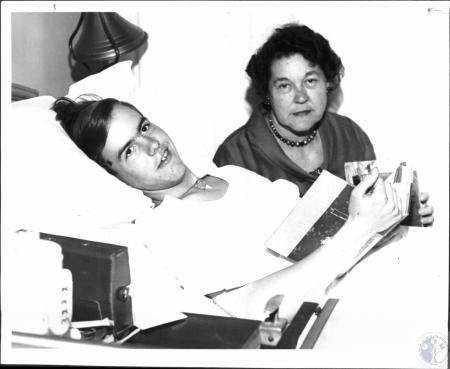 Image: di51813 - Gayle Ensminger (15) and Mrs. David Ensminger at St. Elizabeth Hospital