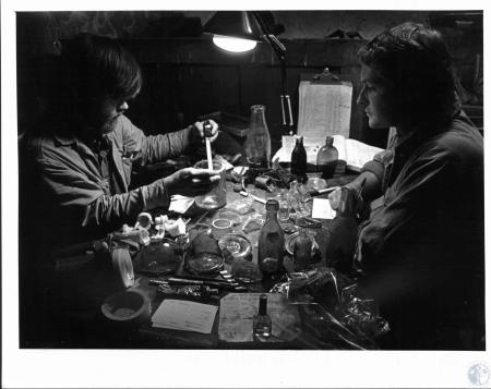 Image: di53788 - Ted Sunderhaus, Pat Bennett. Both are archaeologist cataloging some of the artifacts they've uncovered....