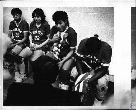 Image: di53950 - Holmes High School Girl's Basketball Team members. First girl at left is Celeste Hill, (unable to identify....