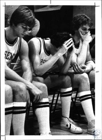 Image: di54695 - NKU bench reflects loss to TMC. L-R: Jay Eisenmenger, Rober Ryan and Steve Jesse