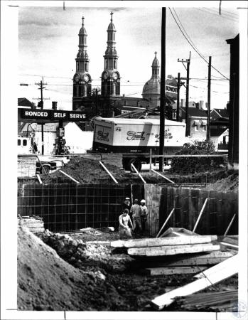 Image: di55249 - Construction starting on new restaurant, in back ground is Mother of God Church