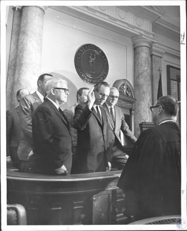 Image: di56305 - Rep. Julian Carroll takes oath as speaker of house. Judge is Morris Montgomery. L-R: Rep. Fred Morgan,....
