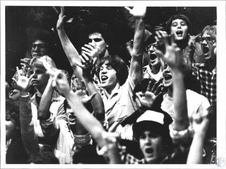 Image: di57323 - Covington Catholic students cheer team. They played Newport Catholic and lost.
