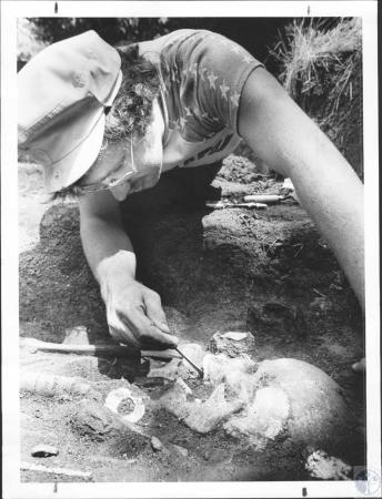 Image: di58562 - Mark Wagner, member of Northern Kentucky State College Anthropology, discovered skeleton in burial mound....