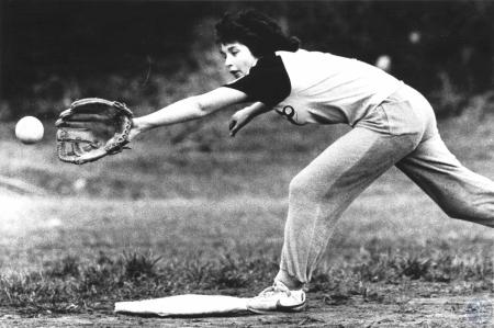 Image: di61641 - Donna Powell during softball practice at Holmes High School. Coach is Julie Aker