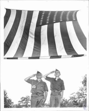 Image: di63684 - L-R: Mike McDonald (12), Michael Lewis (13),  Boy Scout Troop 866