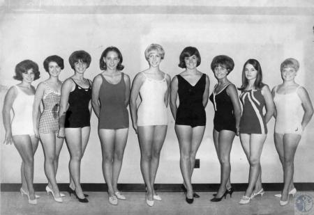 Image: di64401 - Entrants in Carroll County Fair Beauty Contest from left: Cindy Harman (17), Sandra Steele (17), Ilene....