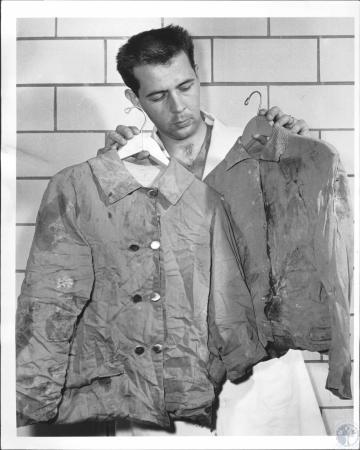 Image: di64416 - Jim McQuire, morgue attendant at Kettering Laboratory with clues in Newport body mystery.