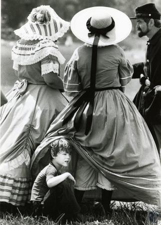 Image: di69812 - Daniel Conners (5) under Mom's dress - Caroline Conners of Evansville, Ind (Civil war re-enactor) (Battle....