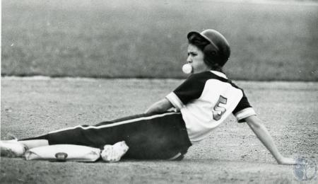 Image: di70071 - Unknown ballplayer (my guess is girl softball player) after sliding into base