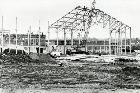 Image: di71769 - Workers erecting metal framing for building