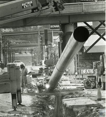 Image: di73254 - Construction near I-75 in vicinity of 3rd St., Theater House in background right.