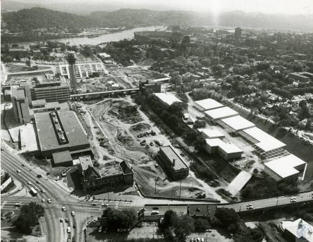 Image: di73771 - Aerial view of World's Fair site, looking south towards Tennessee River.