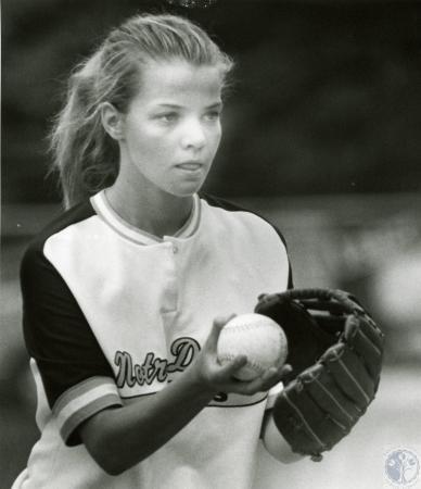Image: di74586 - Unidentified Notre Dame softball pitcher.