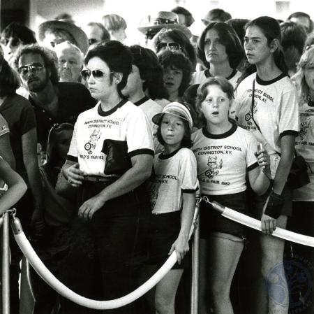 Image: di75135 - Unidentified students and adults (with t-shirts) from Nonth District School, Covington, in line at the....