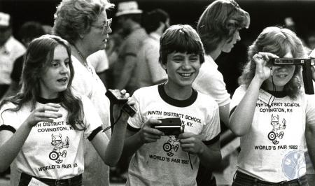 Image: di75136 - Unidentified students of Ninth District School in Covington taking pictures at the World's Fair.